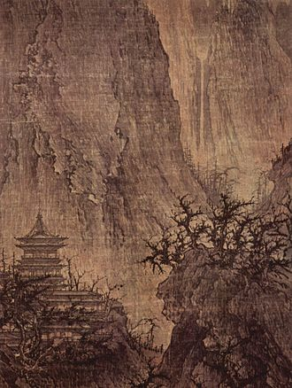 History of Asian art - Li Cheng, Buddhist Temple in the Mountains, 11th century, China, ink on silk, Nelson-Atkins Museum of Art, Kansas City, Missouri