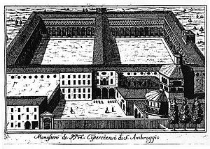Cloisters of Sant'Ambrogio - Eighteenth-century engraving of Marc'Antonio Dal Re