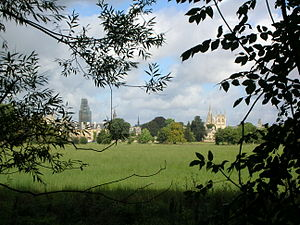 Christ Church Meadow, Oxford - View from the path by the River Cherwell across to Christ Church.