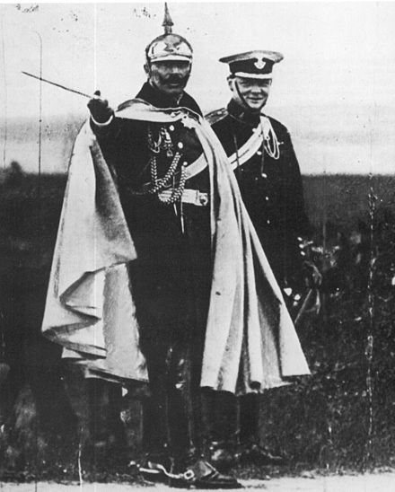 Churchill and German Kaiser Wilhelm II during a military manoeuvre near Breslau, Silesia, in 1906. Churchill und Wilhelm II. (1906).jpg