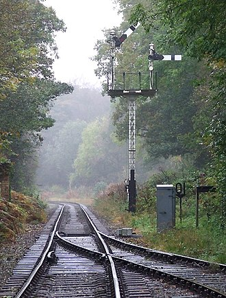 Churnet Valley Railway - Signal and track at Consall Forge
