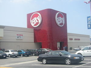 "Circuit City Corporation - Variation on older ""Half Plug"" Circuit City Superstore format in Los Angeles, California, using the ""Horizon""-era logo."