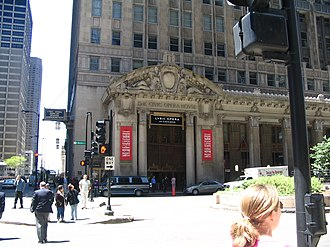 Civic Opera House (Chicago) - Wacker Drive façade of the Civic Opera House
