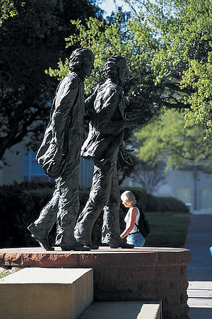 Texas Christian University - Statue of TCU founders Addison and Randolph Clark.