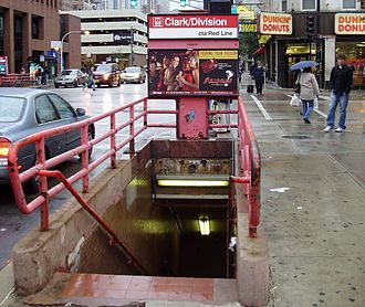 Clark/Division station - Staircase entrance to the station, October 2009, prior to renovation