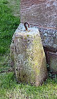 Clock weight and partly obscured benchmark - geograph org uk - 1029523-1.jpg