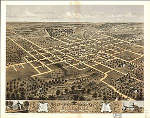 Columbia, Missouri - An aerial depiction of Columbia's downtown district in 1869. The large building on the right is University of Missouri Academic Hall.