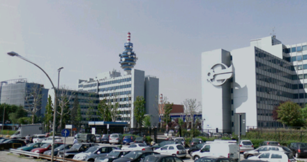 Headquarters of Mediaset, Berlusconi's broadcasting company, in Cologno Monzese Cologno monzese mediaset.png