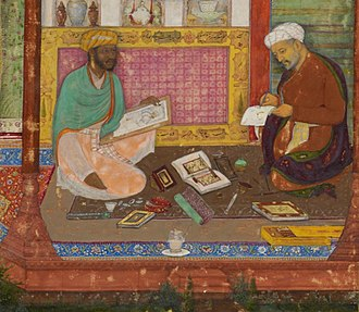 Khamsa of Nizami (British Library, Or. 12208) - Detail of the added miniature by Dawlat showing him (left) painting the calligrapher of the manuscript, Abd al-Rahim