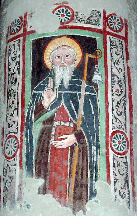 Fresco of Saint Columbanus in Brugnato Cathedral Columbanus at Bobbio.jpg
