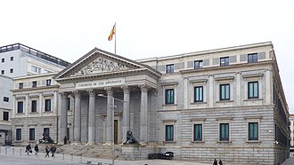Congress of Deputies - Congreso de los Diputados (built 1850): Palacio de las Cortes. Seat of the Spanish Parliament in Madrid (2016)
