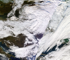 2016–17 UK and Ireland windstorm season - MODIS image of Conor on 27 December 2016