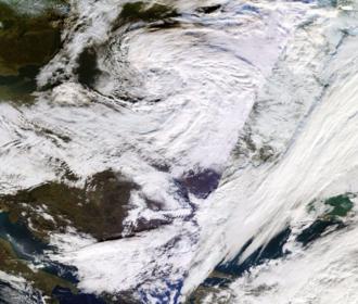 2016–17 UK and Ireland windstorm season - MODIS image of Conor on 27 December 2016