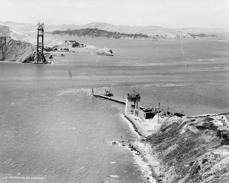 Construcción del puente Golden Gate de San Francisco.