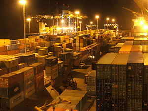 Containerterminal in Tema, Ghana
