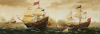 Red flag (idiom) - A Naval Encounter between Dutch and Spanish Warships by Cornelis Verbeeck. c. 1618/1620. A solid red flag, signifying the ship's intent to engage in combat with a Spanish galleon (left ship), flies at the Dutch warship's stern (right ship).