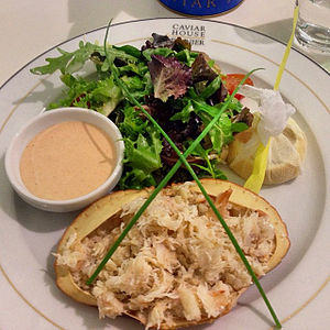 Marie Rose sauce - Crab meat in shell with salad and Marie Rose sauce