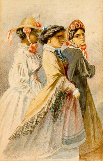 Plaçage - Creole women of color out taking the air, from a watercolor series by Édouard Marquis, New Orleans, 1867.