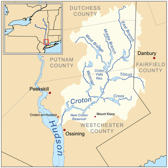 Croton River - Map of the Croton River drainage basin.