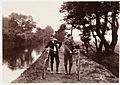 Cyclists on a towpath, about 1900 - 9.jpg