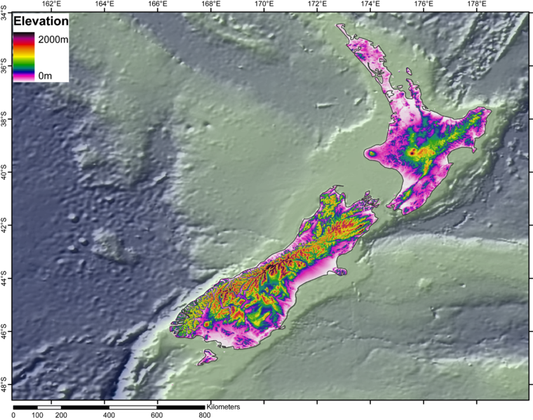 Photo is from DEM of the New Zealand from GLOBE (topography) and ETOPO2 (bathymetry) datasets, precessed with Arcgis9.1 by jide. Uploaded to Wikimedia Commons under CC-BY-SA-3.0