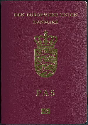Danish passport - The front cover of a contemporary Danish biometric passport