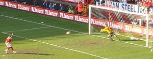 Darren Bent - Bent scoring a penalty kick for Charlton Athletic in 2007
