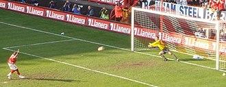 Darren Bent - Bent scoring a penalty kick for Charlton Athletic in 2007