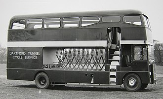 Dartford Crossing - A bus designed to transport bicycles through the Dartford Tunnel in 1963