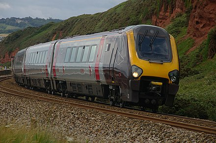 A Class 220 Voyager DEMU, built in Belgium by Bombardier Transportation, which is capable of speeds of up to 125 mph Dawlish Warren MMB 07 South Devon Main Line 220032.jpg