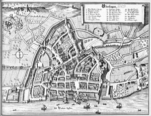 Überlingen - Überlingen 1640–50, Engraving by Mathäus Merian