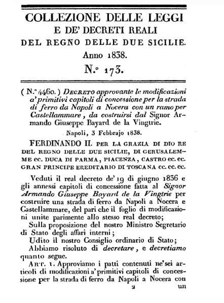 File:Decreto approvante modificazioni alla concessione per la strada di ferro da Napoli a Nocera (e relative modifiche).djvu