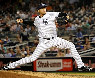 2015 New York Yankees season - Yankees' all-star reliever Dellin Betances pitching in a game.