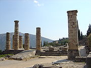 Ruins of the Temple of Apollo at Delphi, where Plutarch served as one of the priests responsible for interpreting the predictions of the oracle.