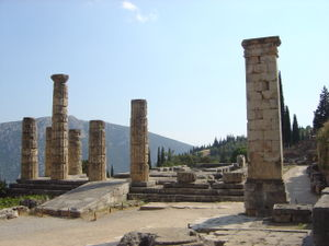 Delphi, the ruins of the Apollo Temple, in who...