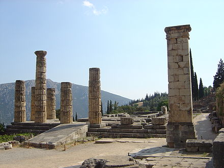 Ruins of the Temple of Apollo at Delphi, where Plutarch served as one of the priests responsible for interpreting the predictions of the Pythia Delphi temple of Apollo dsc06283.jpg