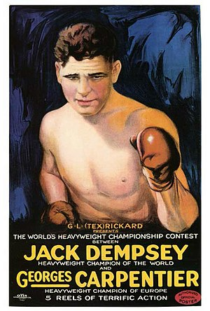 Jack Dempsey vs. Georges Carpentier - poster announcing the filmed version of the fight.