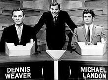 Dennis Weaver Gene Rayburn Michael Landon Match Game 1964.JPG