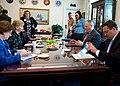 Deputy Defense Secretary Bob Work, center right, meets with U.S. Rep. Madeleine Bordallo of Guam, center left, at the Pentagon, Aug. 13, 2014 ID16802.jpg