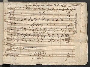 Der Rauchfangkehrer - The beginning of the opera 'Der Rauchfangkehrer' (first scene, first act) by Antonio Salieri - autograph