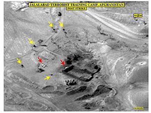 Moazzam Begg - Surveillance photo of the Derunta training camp after US bombardment.