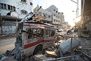Destroyed ambulance in the CIty of Shijaiyah in the Gaza Strip