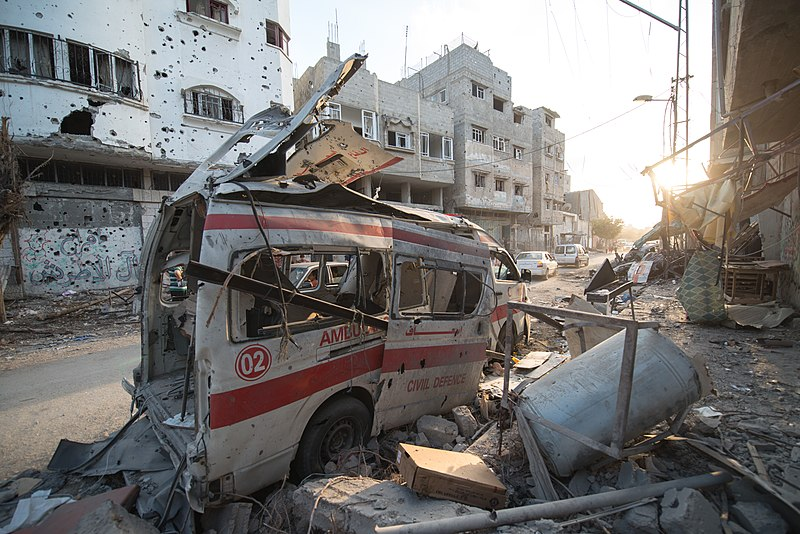 File:Destroyed ambulance in the CIty of Shijaiyah in the Gaza Strip.jpg