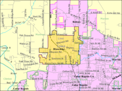 Detailed map of Hiawatha, Iowa