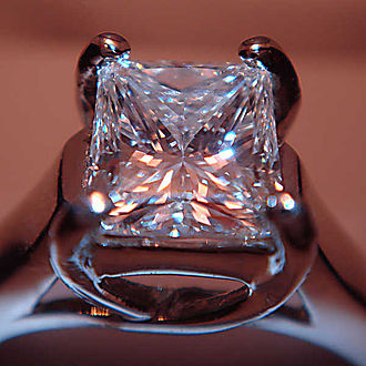 Cut (gems) - Princess cut diamond set in a ring