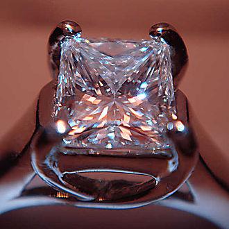 Princess cut - Princess cut diamond set in a ring