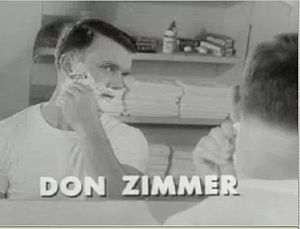 Don Zimmer - Zimmer shaving in a commercial for Gillette razors, c. 1948