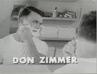 Don Zimmer - Zimmer shaving in a commercial for Gillette razors, c. 1958