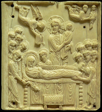 Dormition of the Mother of God - The Dormition: ivory plaque, late 10th to early 11th century (Musée de Cluny).