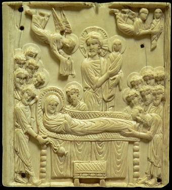 The Dormition: ivory plaque, late 10th-early 11th century (Musee de Cluny) Dormition de la Vierge.JPG